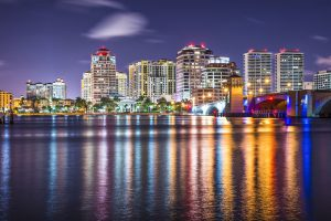 West Palm Beach, Florida nighttime skyline.