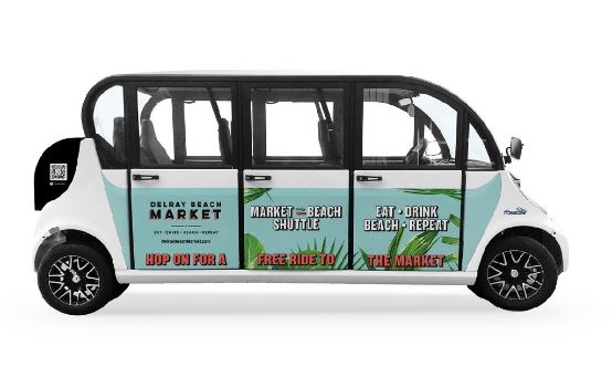 "Courtesy: House of Gab. New, complimentary ""Freebee"" shuttle service from Delray Beach to the Delray Beach Market food hall."