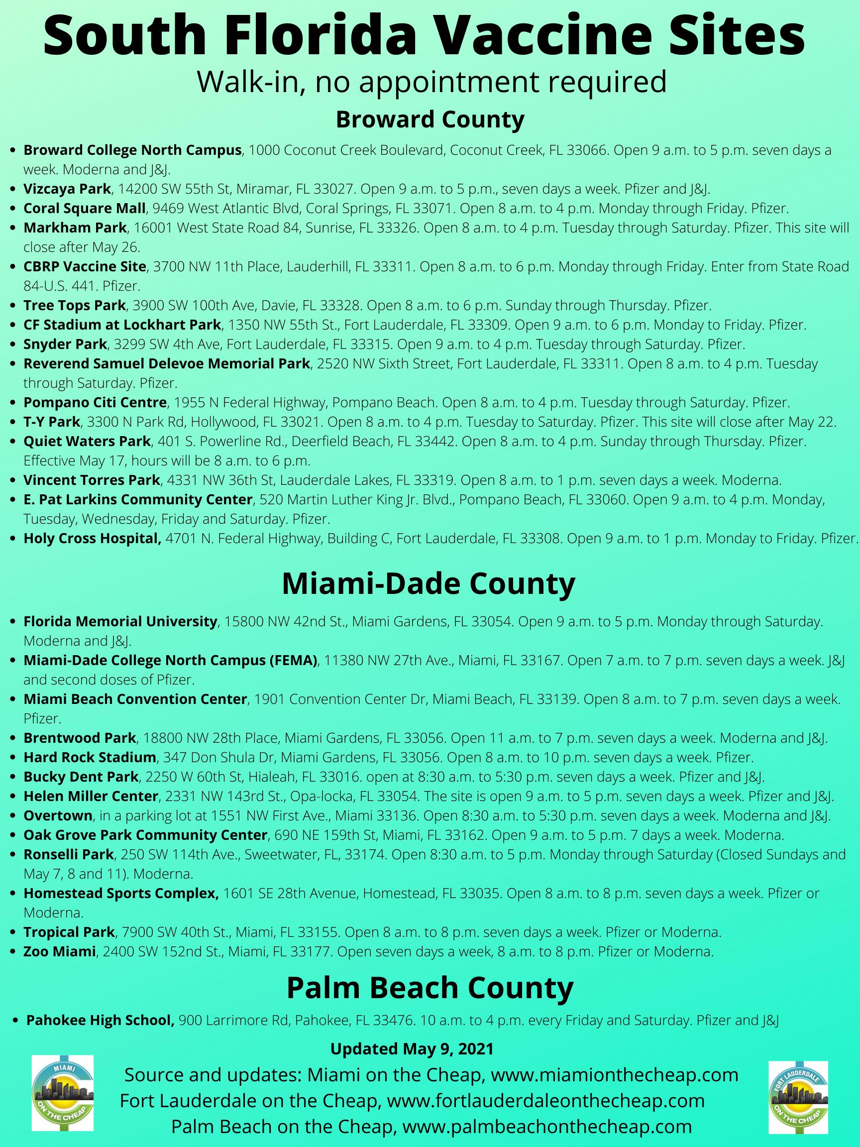 South Florida vaccine pop-up sites